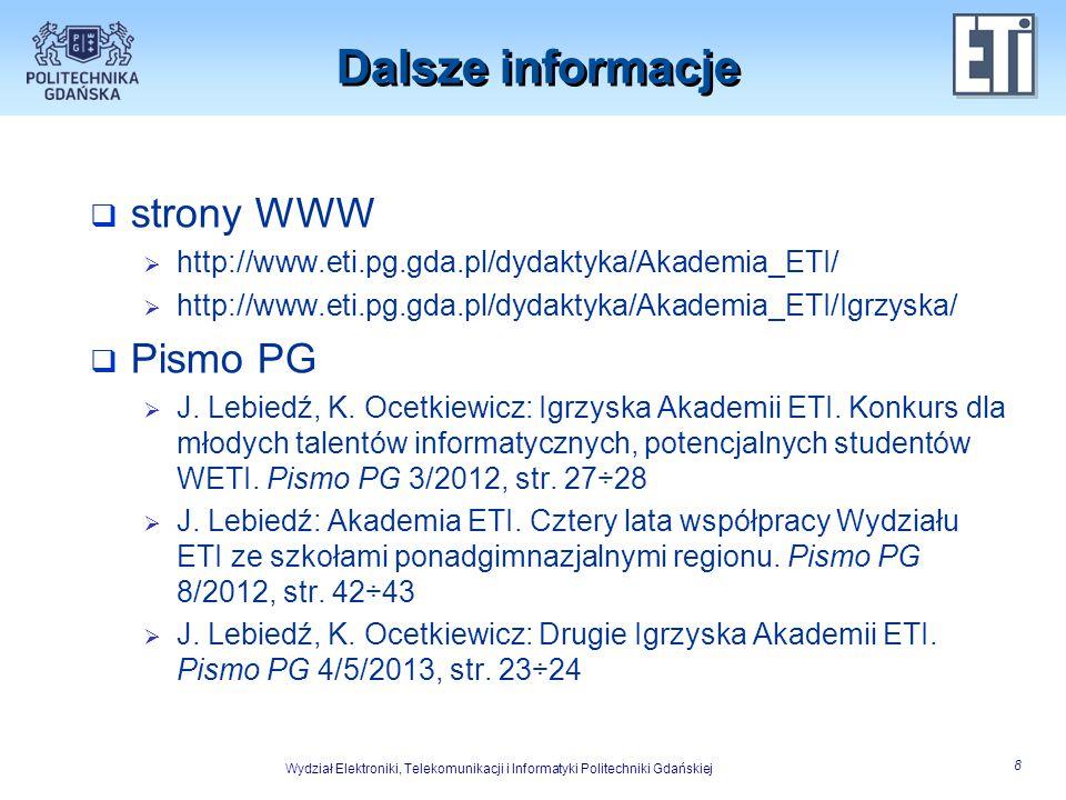 Dalsze informacje strony WWW Pismo PG