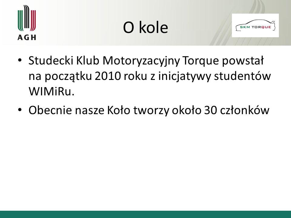 O kole Studecki Klub Motoryzacyjny Torque powstał na początku 2010 roku z inicjatywy studentów WIMiRu.