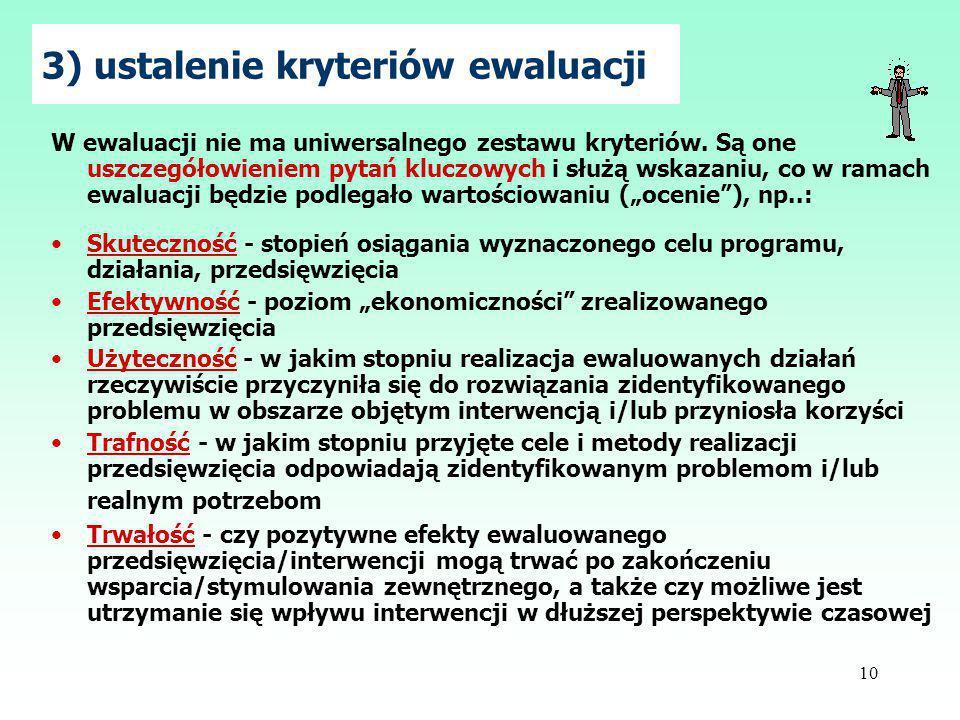 3) ustalenie kryteriów ewaluacji