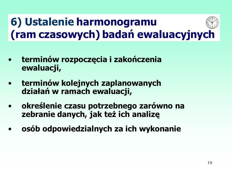 6) Ustalenie harmonogramu (ram czasowych) badań ewaluacyjnych