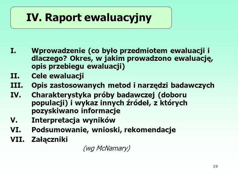 IV. Raport ewaluacyjny Wprowadzenie (co było przedmiotem ewaluacji i dlaczego Okres, w jakim prowadzono ewaluację, opis przebiegu ewaluacji)