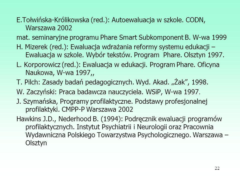 E. Tołwińska-Królikowska (red. ): Autoewaluacja w szkole