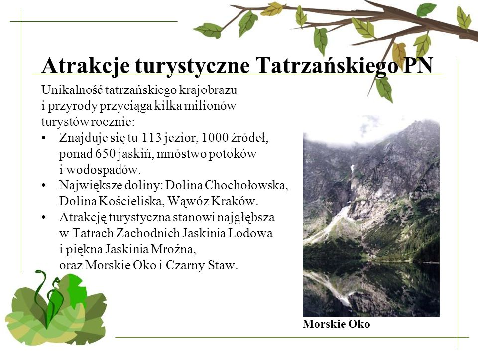 Atrakcje turystyczne Tatrzańskiego PN