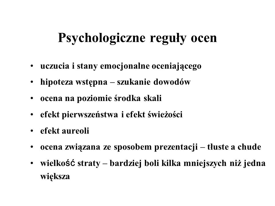 Psychologiczne reguły ocen