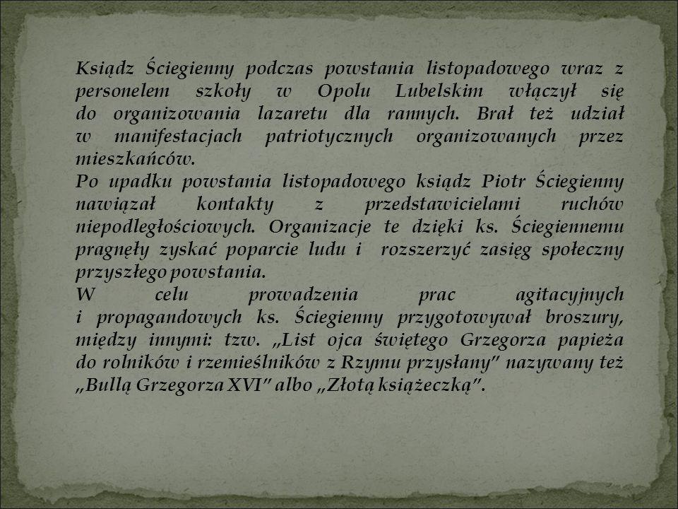 Ksiądz Ściegienny podczas powstania listopadowego wraz z personelem szkoły w Opolu Lubelskim włączył się do organizowania lazaretu dla rannych. Brał też udział w manifestacjach patriotycznych organizowanych przez mieszkańców.