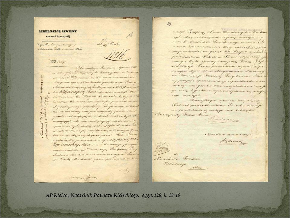 AP Kielce , Naczelnik Powiatu Kieleckiego, sygn. 128, k. 18-19