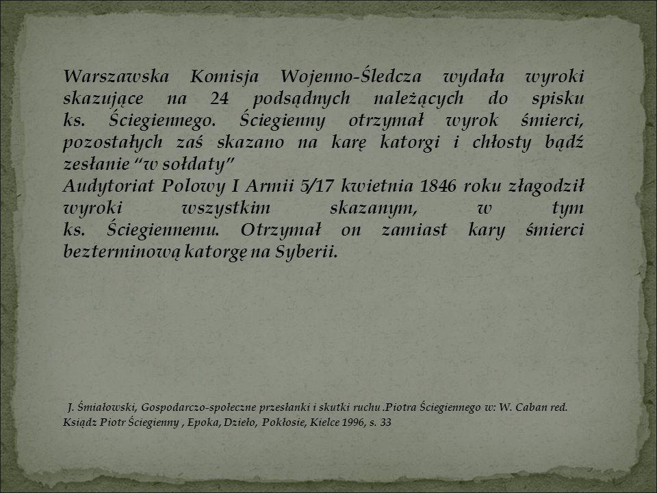 Warszawska Komisja Wojenno-Śledcza wydała wyroki skazujące na 24 podsądnych należących do spisku ks. Ściegiennego. Ściegienny otrzymał wyrok śmierci, pozostałych zaś skazano na karę katorgi i chłosty bądź zesłanie w sołdaty