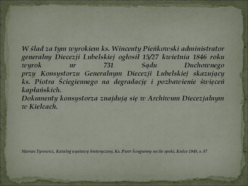 Dokumenty konsystorza znajdują się w Archiwum Diecezjalnym w Kielcach.