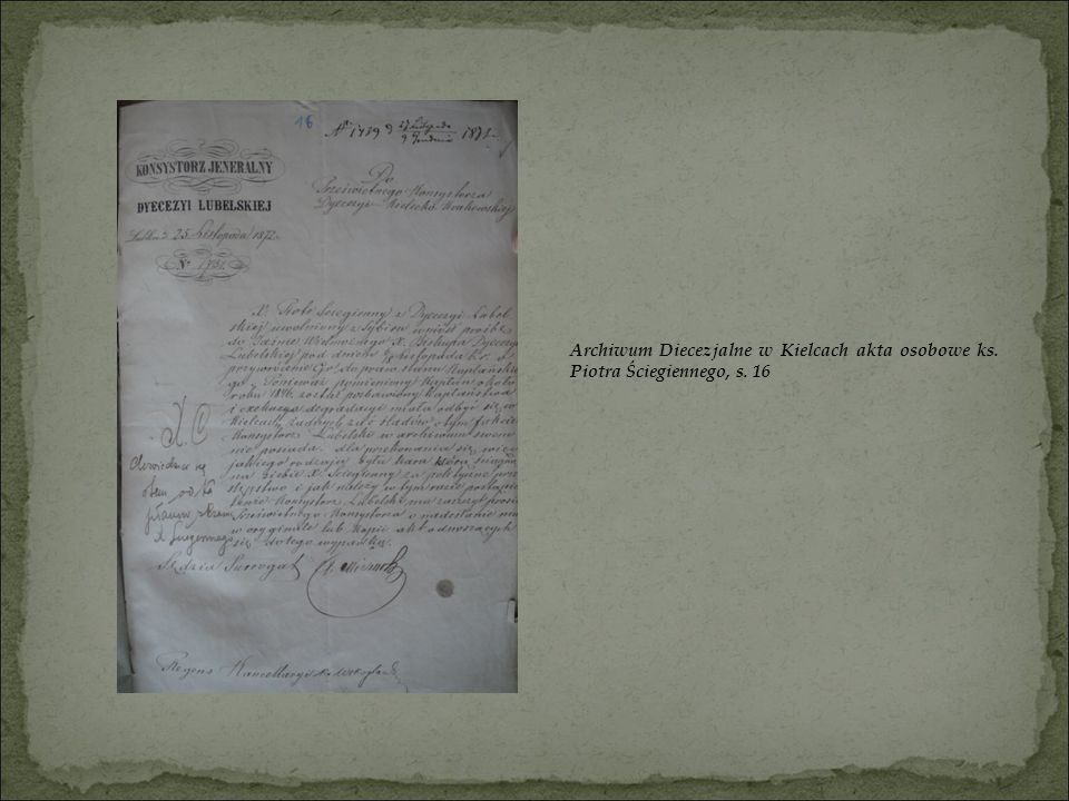 Archiwum Diecezjalne w Kielcach akta osobowe ks. Piotra Ściegiennego, s. 16