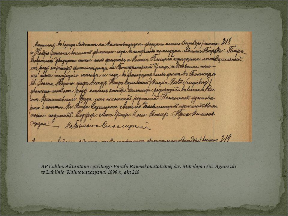 AP Lublin, Akta stanu cywilnego Parafii Rzymskokatolickiej św