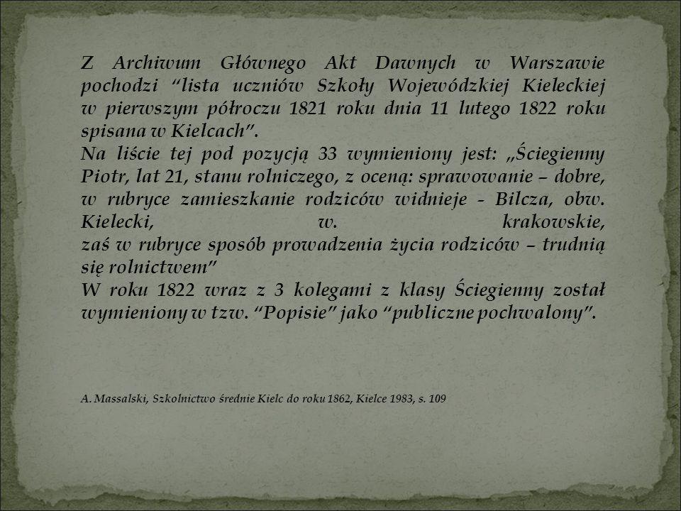 Z Archiwum Głównego Akt Dawnych w Warszawie pochodzi lista uczniów Szkoły Wojewódzkiej Kieleckiej w pierwszym półroczu 1821 roku dnia 11 lutego 1822 roku spisana w Kielcach .