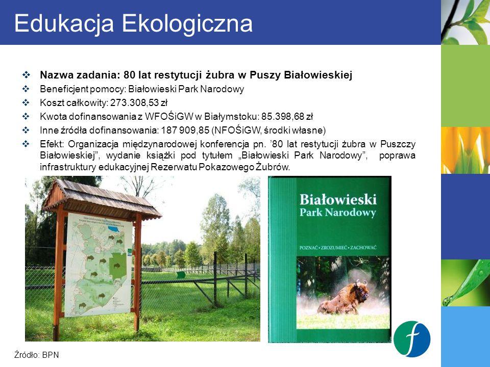 Edukacja Ekologiczna Nazwa zadania: 80 lat restytucji żubra w Puszy Białowieskiej. Beneficjent pomocy: Białowieski Park Narodowy.
