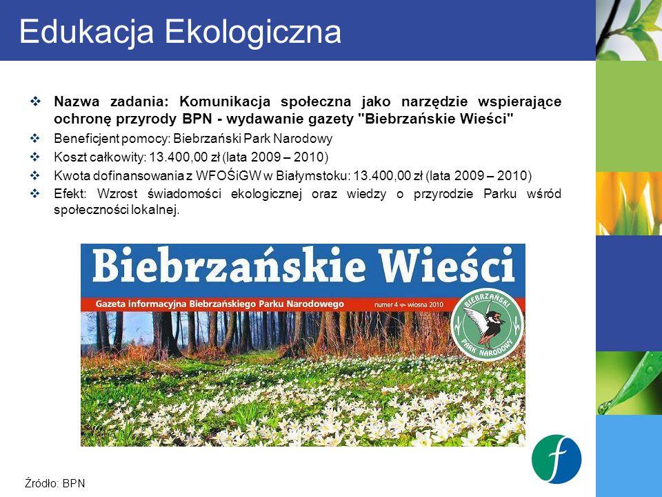 Edukacja Ekologiczna Nazwa zadania: Komunikacja społeczna jako narzędzie wspierające ochronę przyrody BPN - wydawanie gazety Biebrzańskie Wieści