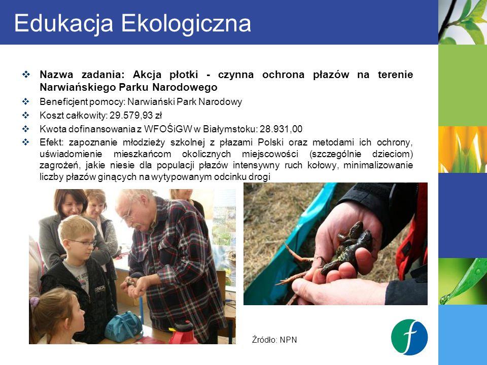 Edukacja Ekologiczna Nazwa zadania: Akcja płotki - czynna ochrona płazów na terenie Narwiańskiego Parku Narodowego.