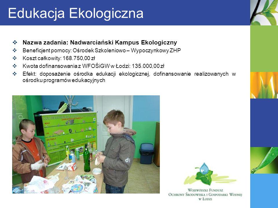 Edukacja Ekologiczna Nazwa zadania: Nadwarciański Kampus Ekologiczny