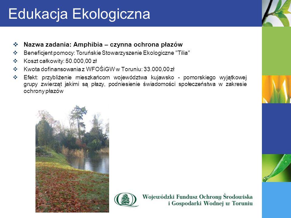Edukacja Ekologiczna Nazwa zadania: Amphibia – czynna ochrona płazów