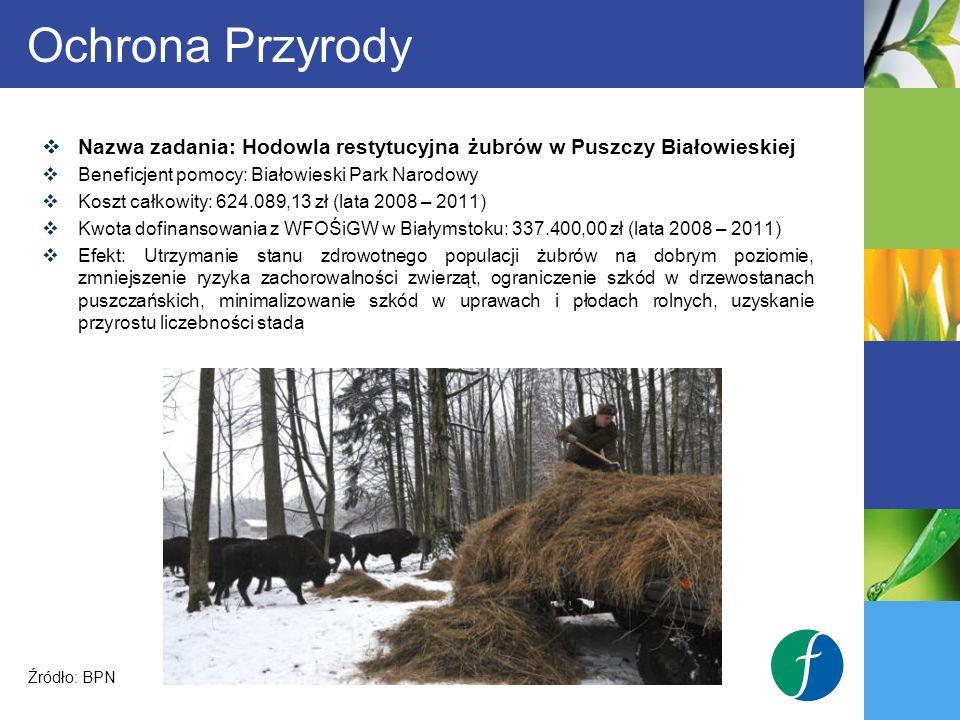Ochrona Przyrody Nazwa zadania: Hodowla restytucyjna żubrów w Puszczy Białowieskiej. Beneficjent pomocy: Białowieski Park Narodowy.
