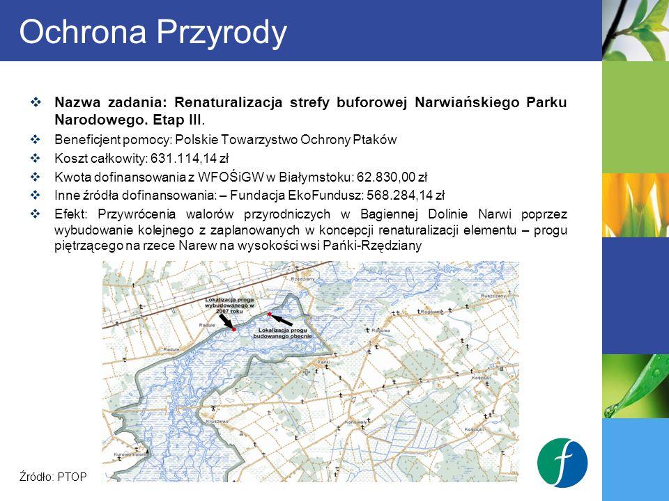 Ochrona Przyrody Nazwa zadania: Renaturalizacja strefy buforowej Narwiańskiego Parku Narodowego. Etap III.