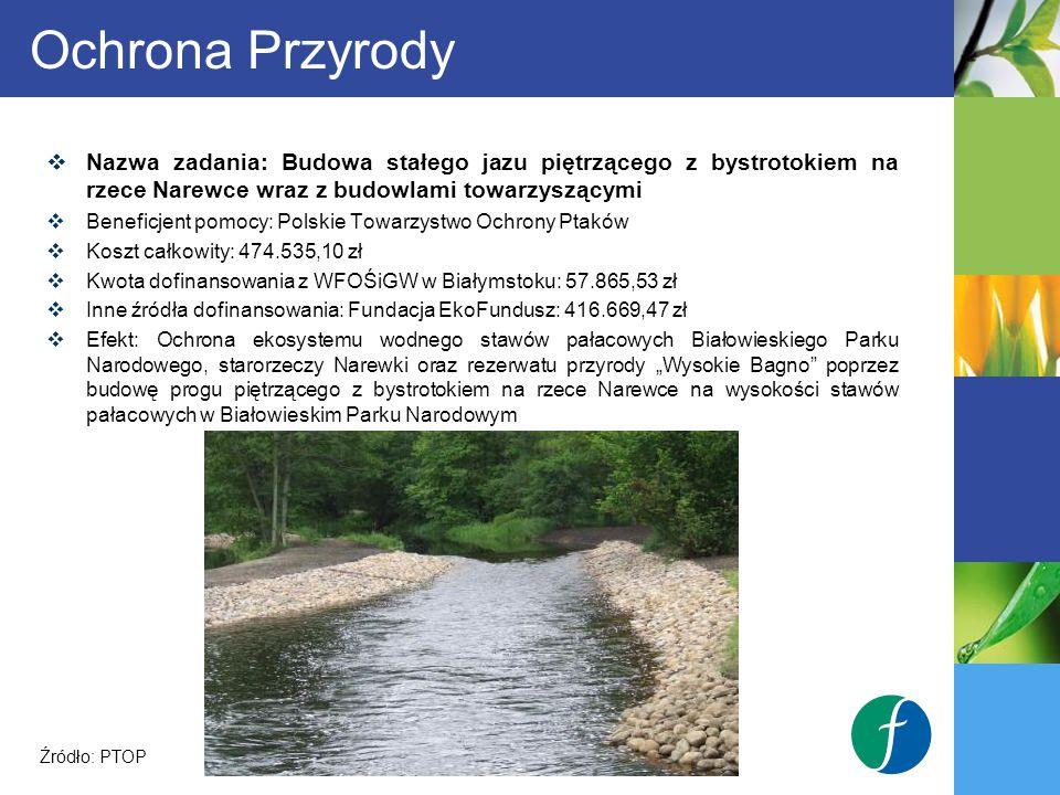 Ochrona Przyrody Nazwa zadania: Budowa stałego jazu piętrzącego z bystrotokiem na rzece Narewce wraz z budowlami towarzyszącymi.