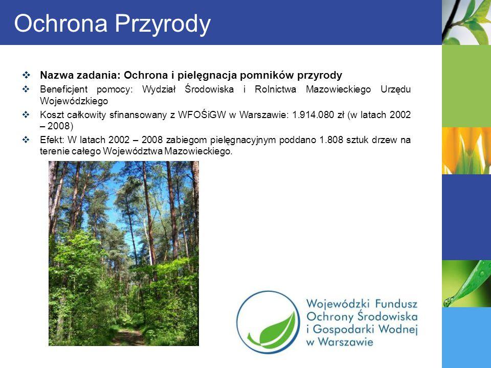 Ochrona Przyrody Nazwa zadania: Ochrona i pielęgnacja pomników przyrody.