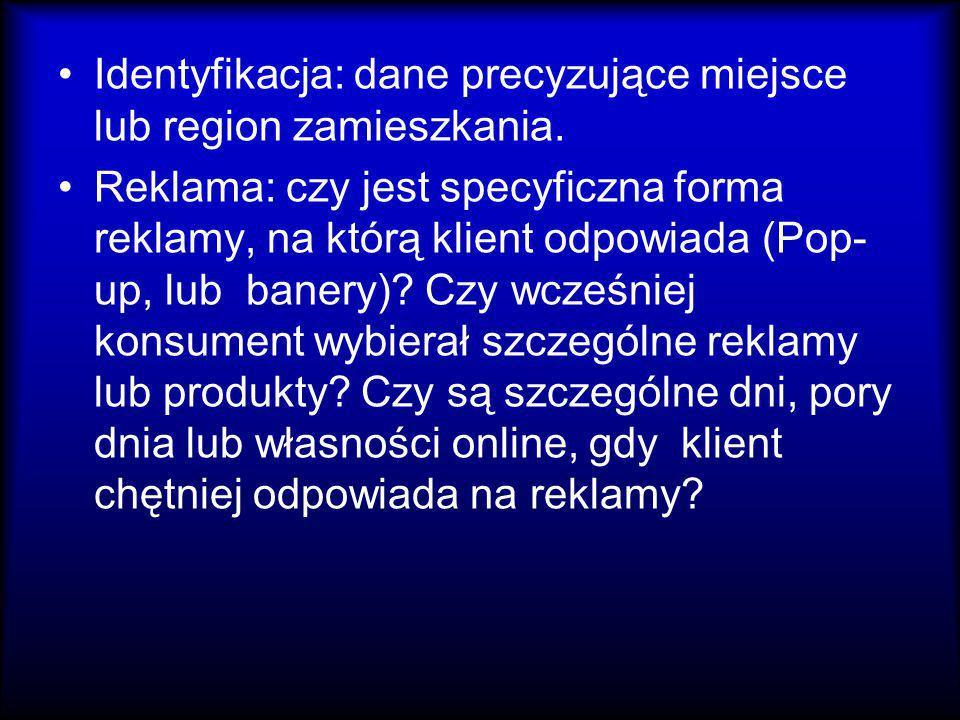 Identyfikacja: dane precyzujące miejsce lub region zamieszkania.
