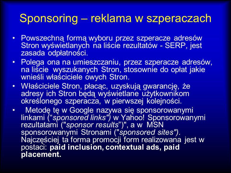 Sponsoring – reklama w szperaczach