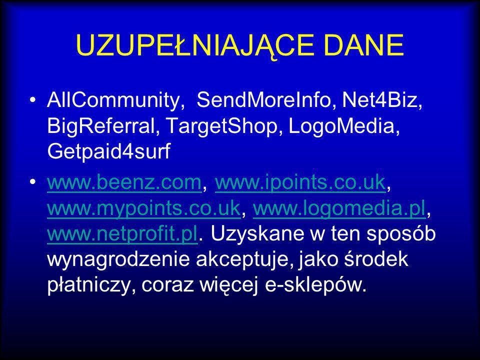 UZUPEŁNIAJĄCE DANE AllCommunity, SendMoreInfo, Net4Biz, BigReferral, TargetShop, LogoMedia, Getpaid4surf.