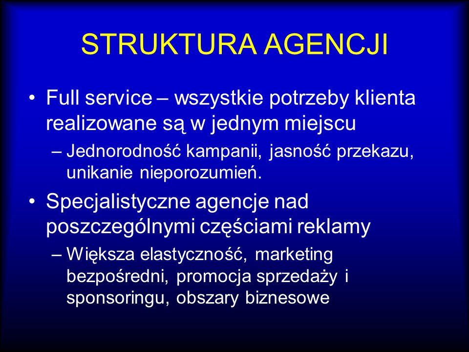 STRUKTURA AGENCJI Full service – wszystkie potrzeby klienta realizowane są w jednym miejscu.