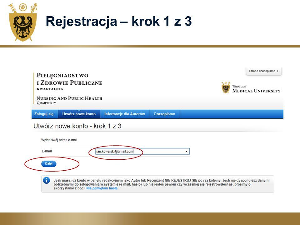 Rejestracja – krok 1 z 3