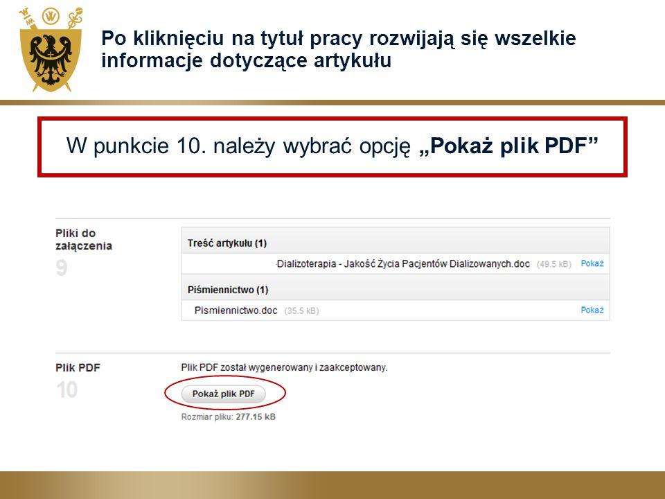 """W punkcie 10. należy wybrać opcję """"Pokaż plik PDF"""