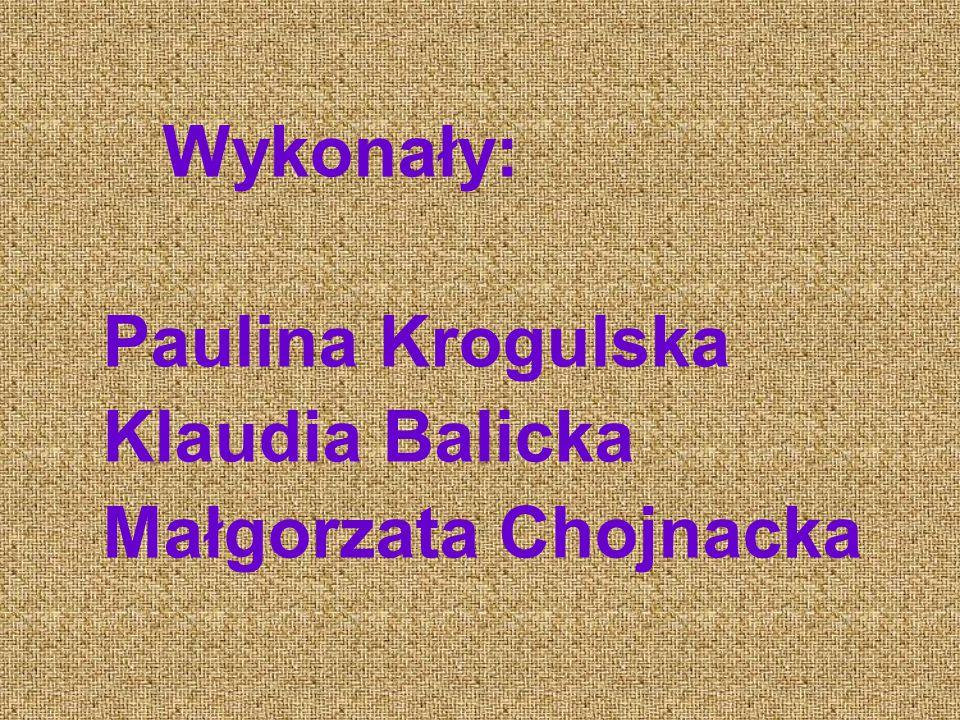 Wykonały: Paulina Krogulska Klaudia Balicka Małgorzata Chojnacka