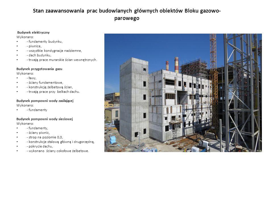 Stan zaawansowania prac budowlanych głównych obiektów Bloku gazowo-parowego