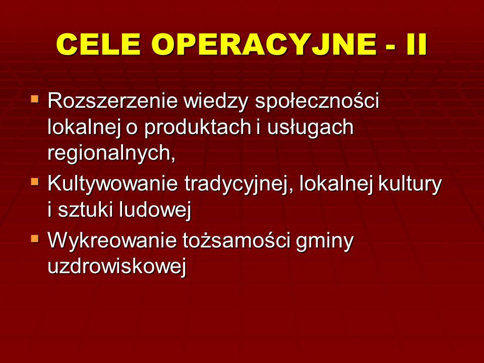 CELE OPERACYJNE - II Rozszerzenie wiedzy społeczności lokalnej o produktach i usługach regionalnych,