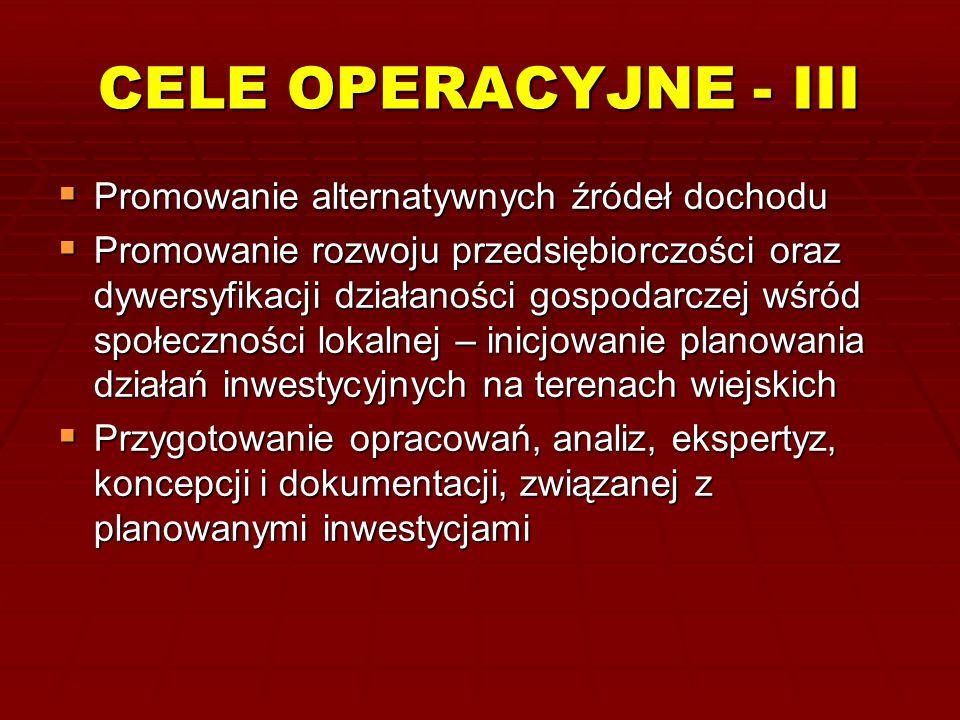 CELE OPERACYJNE - III Promowanie alternatywnych źródeł dochodu