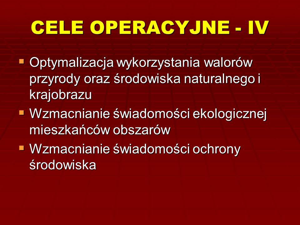 CELE OPERACYJNE - IV Optymalizacja wykorzystania walorów przyrody oraz środowiska naturalnego i krajobrazu.