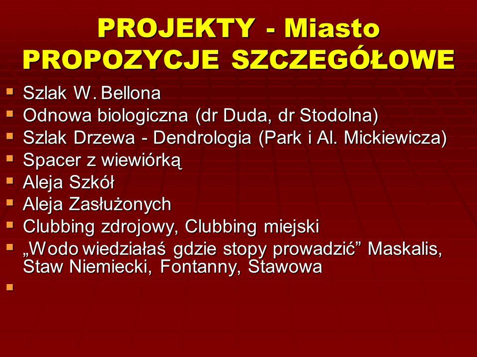 PROJEKTY - Miasto PROPOZYCJE SZCZEGÓŁOWE