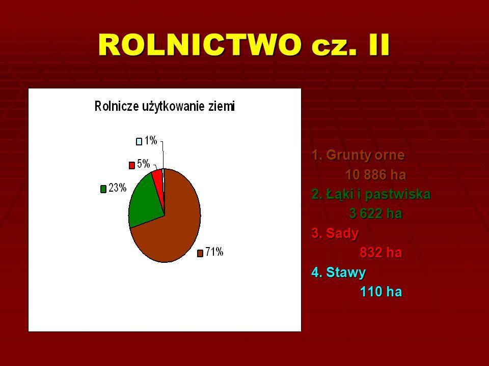 ROLNICTWO cz. II 1. Grunty orne 10 886 ha 2. Łąki i pastwiska 3 622 ha
