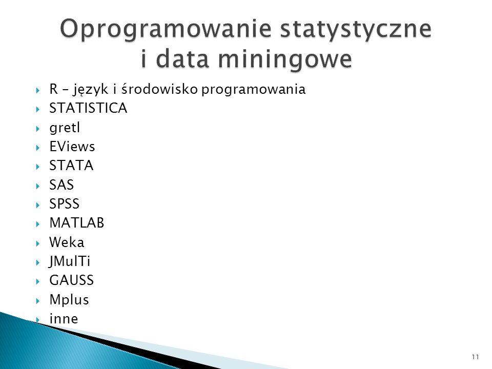 Oprogramowanie statystyczne i data miningowe