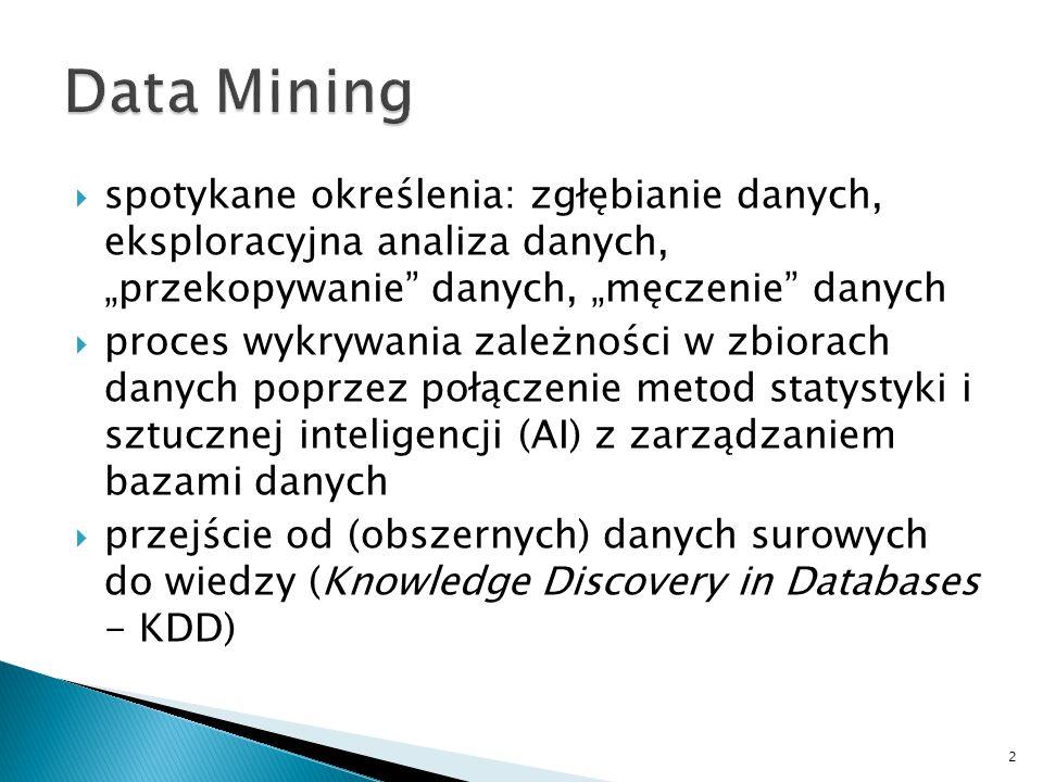 """Data Mining spotykane określenia: zgłębianie danych, eksploracyjna analiza danych, """"przekopywanie danych, """"męczenie danych."""