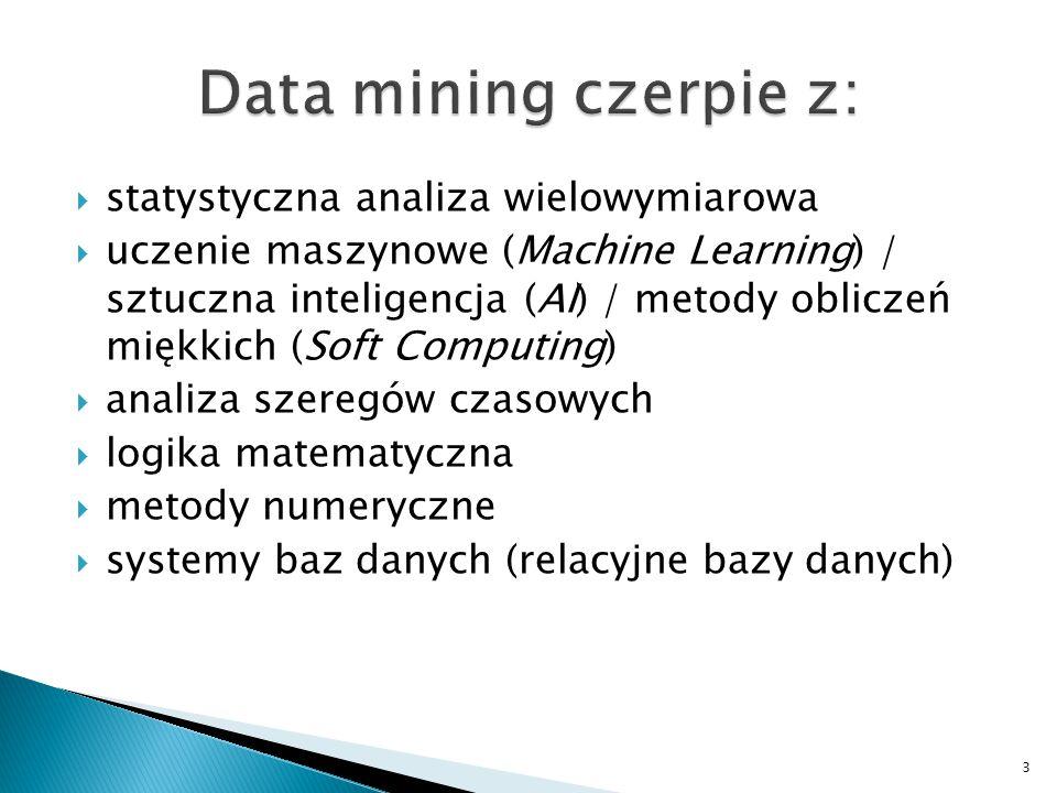 Data mining czerpie z: statystyczna analiza wielowymiarowa