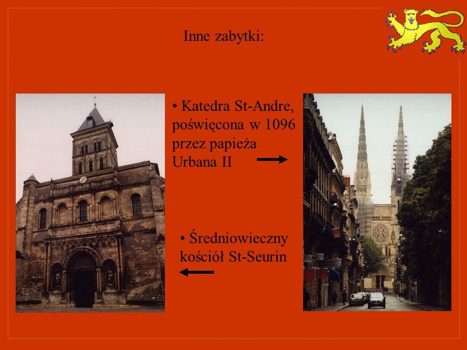 Inne zabytki: Katedra St-Andre, poświęcona w 1096 przez papieża Urbana II.