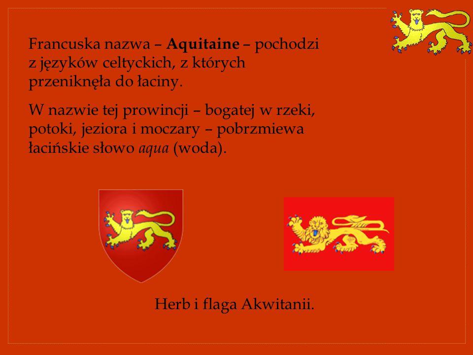 Francuska nazwa – Aquitaine – pochodzi z języków celtyckich, z których przeniknęła do łaciny.