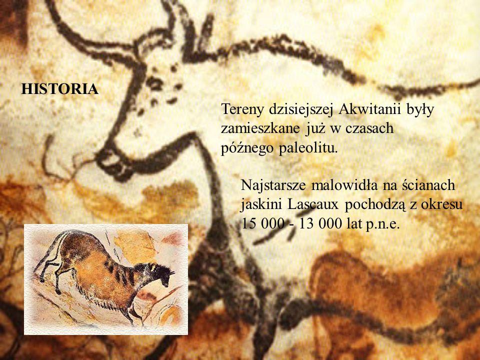 HISTORIA Tereny dzisiejszej Akwitanii były zamieszkane już w czasach późnego paleolitu.