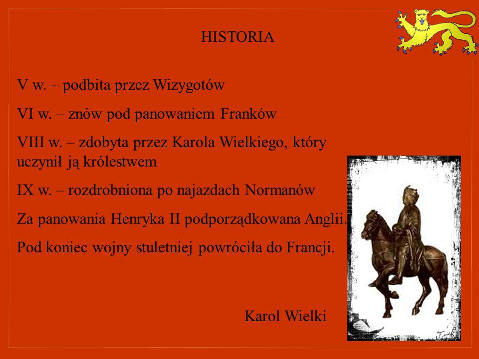 HISTORIA V w. – podbita przez Wizygotów. VI w. – znów pod panowaniem Franków. VIII w. – zdobyta przez Karola Wielkiego, który uczynił ją królestwem.