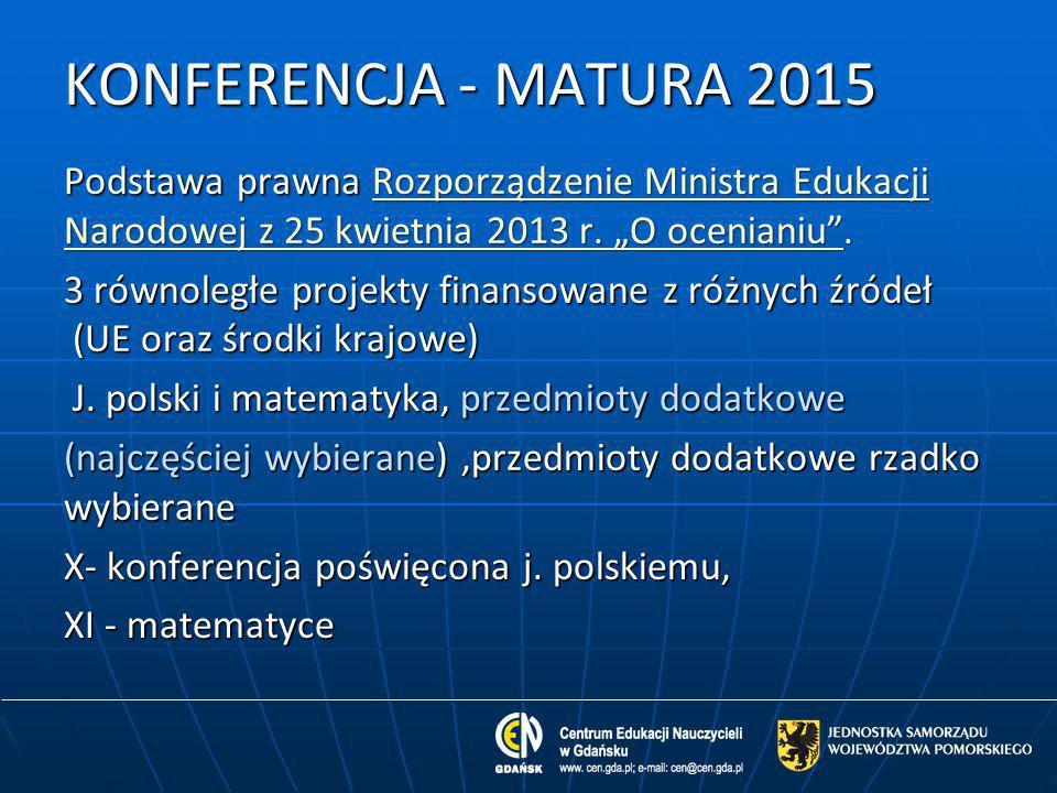 """KONFERENCJA - MATURA 2015 Podstawa prawna Rozporządzenie Ministra Edukacji Narodowej z 25 kwietnia 2013 r. """"O ocenianiu ."""