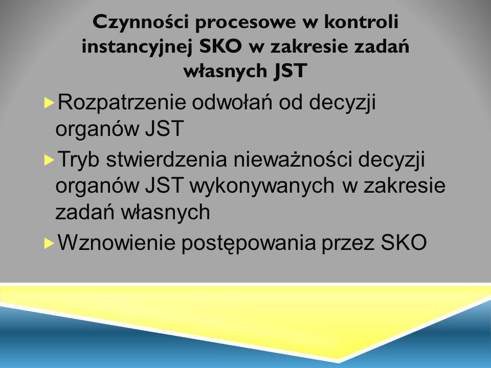 Rozpatrzenie odwołań od decyzji organów JST