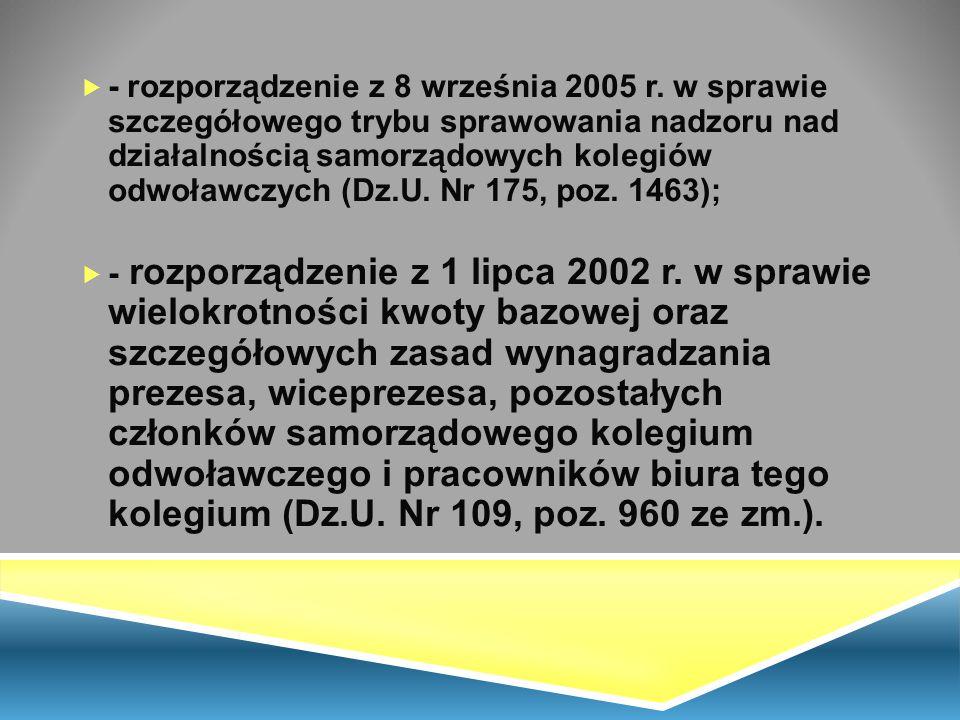 - rozporządzenie z 8 września 2005 r