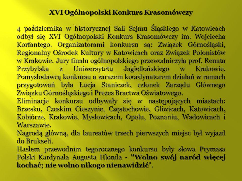XVI Ogólnopolski Konkurs Krasomówczy
