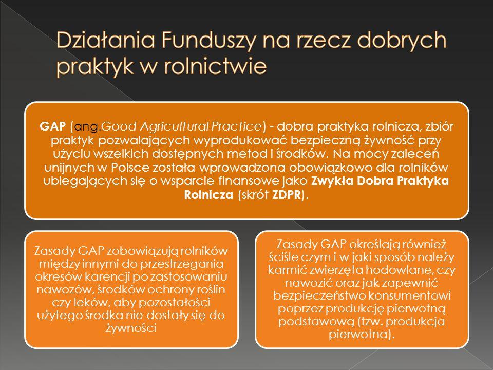 Działania Funduszy na rzecz dobrych praktyk w rolnictwie