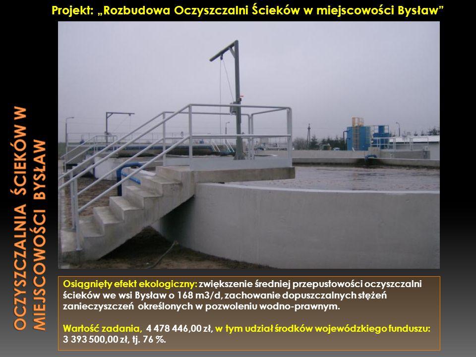Oczyszczalnia ścieków w miejscowości Bysław